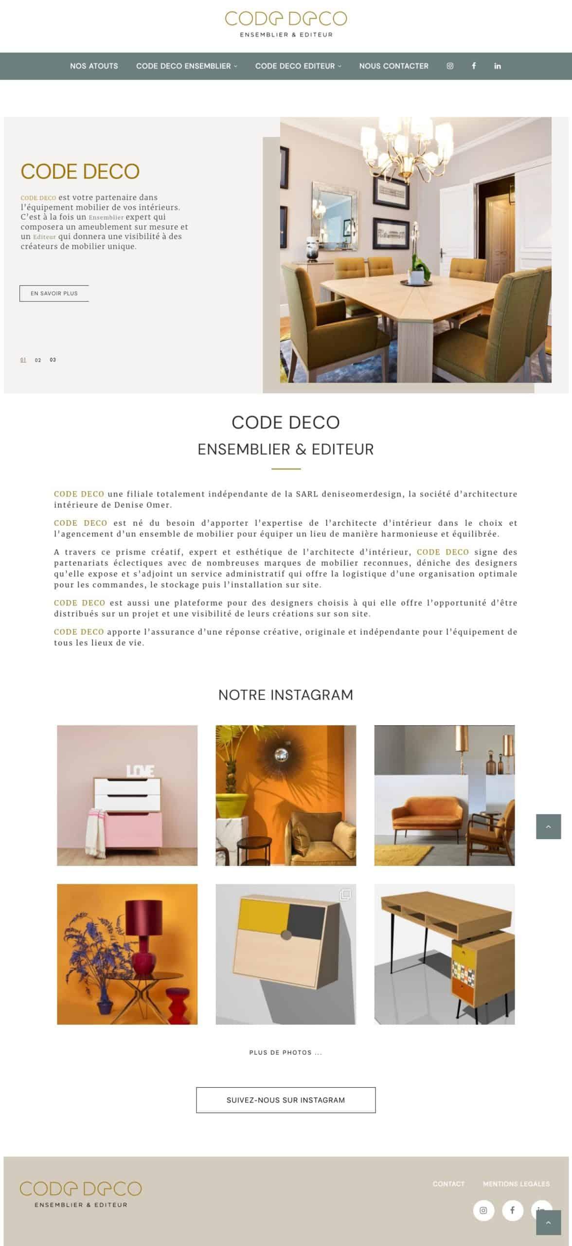 Création site Internet Code Deco par 123clic