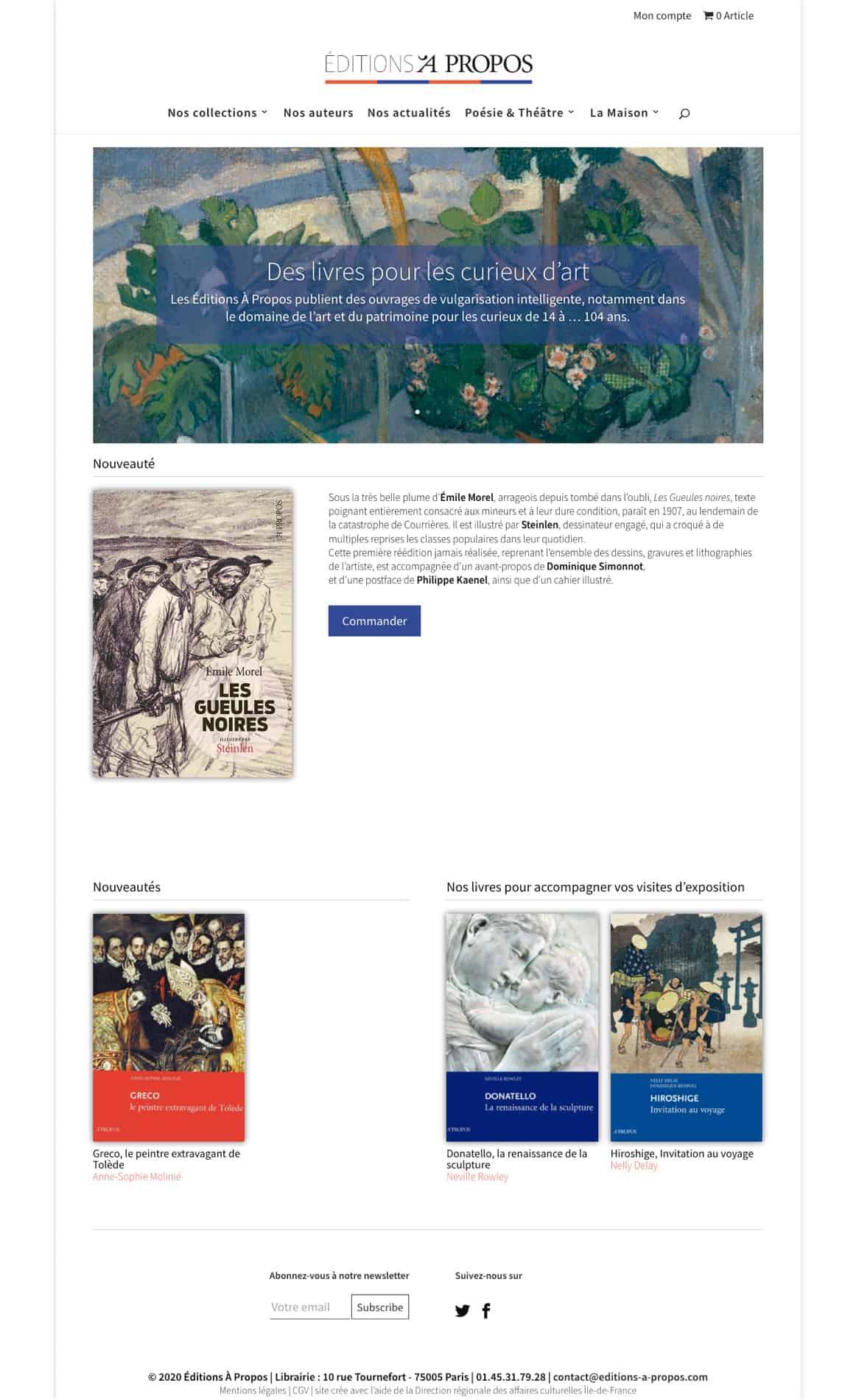 Refonte site marchand Editions A Propos par 123clic
